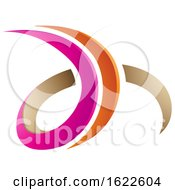Magenta Orange And Beige Letters D And H