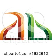 Orange And Green Bow Like Letters A And B