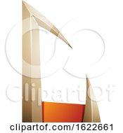 Beige And Orange Arrow Like Letter C