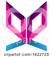 Poster, Art Print Of Magenta And Blue Butterfly Like Letter E