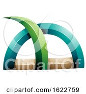 Green And Turquoise Spiky Grass Design