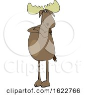 Cartoon Defiant Moose With Folded Arms