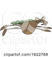 Cartoon Moose Super Hero Flying