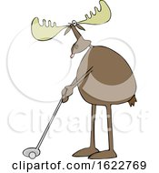 Cartoon Moose Golfing