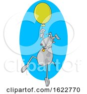 Cartoon Dog Floating With A Balloon