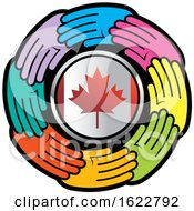 Poster, Art Print Of Colorful Hands Around A Canadian Flag Circle