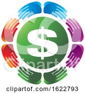Poster, Art Print Of Circle Of Colorful Hands Around Usd Circle