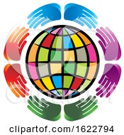 Poster, Art Print Of Circle Of Colorful Hands Around A Globe