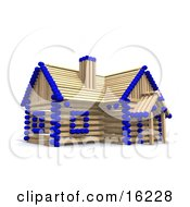 Matchstick Home With Blue Tips Symbolizing A Stick Built House Foreclosure And Insurance