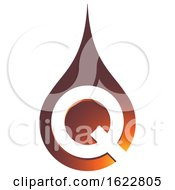 Amber Colored Droplet With Letter Q