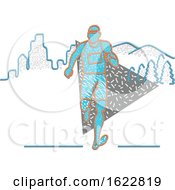 Poster, Art Print Of Marathon Runner In Retro Memphis Style