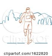 Marathon Runner In Neon Style