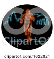 Poster, Art Print Of Marathon Runner Running Oval Neon Sign