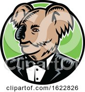 Koala Wearing Tuxedo Woodcut Color