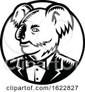 Koala Wearing Tuxedo Woodcut Black And White
