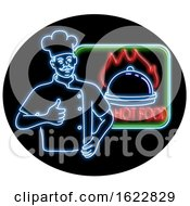 Chef Thumbs Up Hot Food Oval Neon Sign