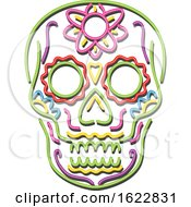 Tattoo Sugar Skull In Neon Style