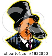 Duck Billed Platypus Tophat Woodcut Color