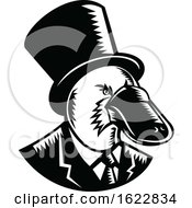 Duck Billed Platypus Tophat Woodcut Black And White