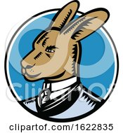 Wallaby Wearing Business Suit Circle Woodcut Color