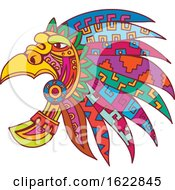 Ancient Aztec Headdress Drawing Color by patrimonio