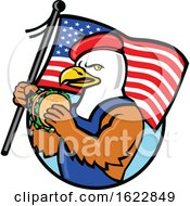 Poster, Art Print Of American Bald Eagle Holding A Usa Flag And Burger