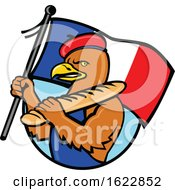 Poster, Art Print Of French Eagle Holding Flag And Baguette Cartoon