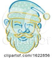 Santa Claus Face In Memphis Style