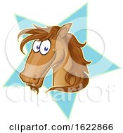 Cartoon Brown Horse Face Over A Star by Domenico Condello