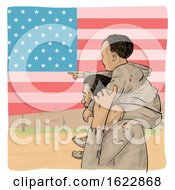 Migrant Father Carrying His Pointing Son On His Shoulders Over An American Flag