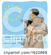 Poster, Art Print Of Migrant Father Carrying His Pointing Son On His Shoulders Over An European Flag