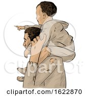 Migrant Father Carrying His Pointing Son On His Shoulders