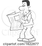 Cartoon Grayscale Black Man Reading The Newspaper