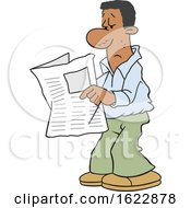 Cartoon Black Man Reading The Newspaper by Johnny Sajem