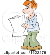 Cartoon White Man Reading A Blank Paper by Johnny Sajem