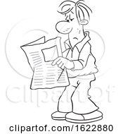 Cartoon Black And White Man Reading The Newspaper