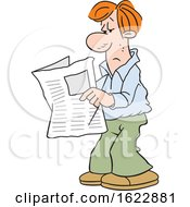 Cartoon White Man Reading The Newspaper by Johnny Sajem