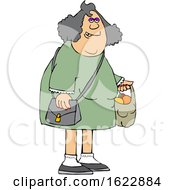 Cartoon Chubby White Woman Carrying A Shopping Bag Full Of Apples And Oranges