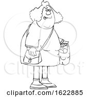 Cartoon Black And White Chubby Woman Carrying A Shopping Bag Full Of Apples And Oranges
