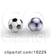Two Soccer Balls Isolated On A White Background