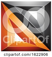 Black And Orange Square Made Of Triangles by cidepix