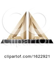 Beige Or Gold And Black 3d Pyramid