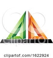 Green Orange And Black 3d Pyramid