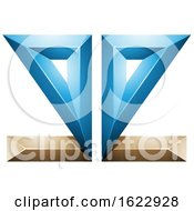 Blue And Beige Or Gold 3d Geometric Mirrored Letter E