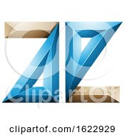 Blue And Beige 3d Geometric Letters A And E
