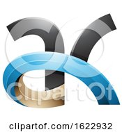 Black Blue And Beige 3d Curvy Letters A And K