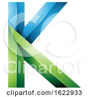Blue And Green 3d Geometric Letter K