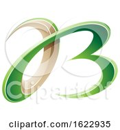 Green And Beige 3d Curly Letters A And B
