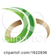 Green And Beige 3d Curly Letters D And H