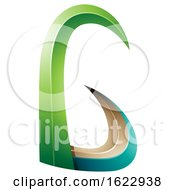 Green And Turquoise 3d Horn Like Letter G